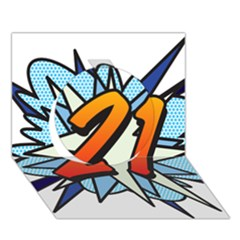 Comic Book 21 Blue Circle 3d Greeting Card (7x5)