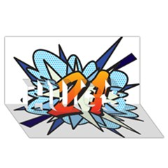 Comic Book 21 Blue HUGS 3D Greeting Card (8x4)