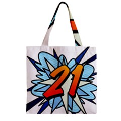 Comic Book 21 Blue Zipper Grocery Tote Bags