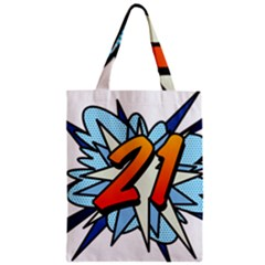 Comic Book 21 Blue Zipper Classic Tote Bags