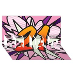 Comic Book 21 Pink Believe 3d Greeting Card (8x4)