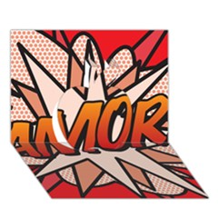 Comic Book Amor!  Apple 3D Greeting Card (7x5)