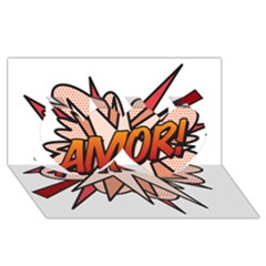 Comic Book Amor! Twin Hearts 3D Greeting Card (8x4)