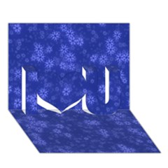 Snow Stars Blue I Love You 3d Greeting Card (7x5)