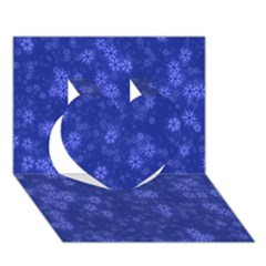 Snow Stars Blue Heart 3D Greeting Card (7x5)