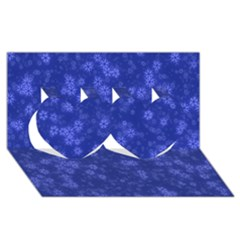 Snow Stars Blue Twin Hearts 3D Greeting Card (8x4)