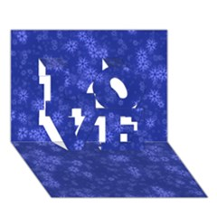 Snow Stars Blue LOVE 3D Greeting Card (7x5)