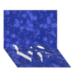 Snow Stars Blue LOVE Bottom 3D Greeting Card (7x5)