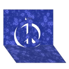 Snow Stars Blue Peace Sign 3D Greeting Card (7x5)