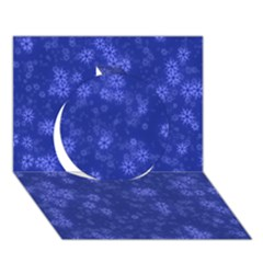 Snow Stars Blue Circle 3D Greeting Card (7x5)
