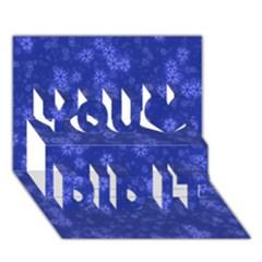 Snow Stars Blue You Did It 3D Greeting Card (7x5)