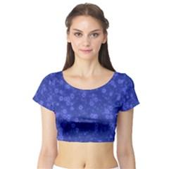 Snow Stars Blue Short Sleeve Crop Top