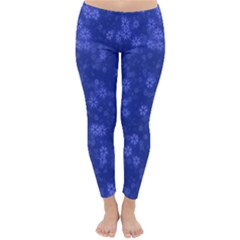 Snow Stars Blue Winter Leggings