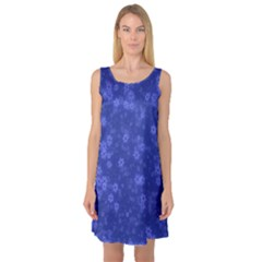 Snow Stars Blue Sleeveless Satin Nightdresses