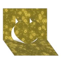 Snow Stars Golden Heart 3D Greeting Card (7x5)