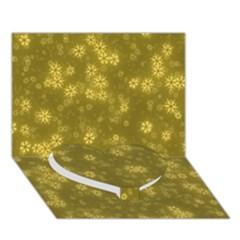 Snow Stars Golden Heart Bottom 3D Greeting Card (7x5)