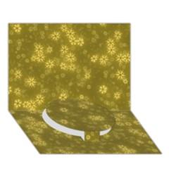 Snow Stars Golden Circle Bottom 3D Greeting Card (7x5)