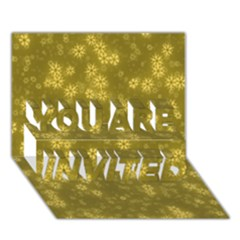 Snow Stars Golden You Are Invited 3d Greeting Card (7x5)