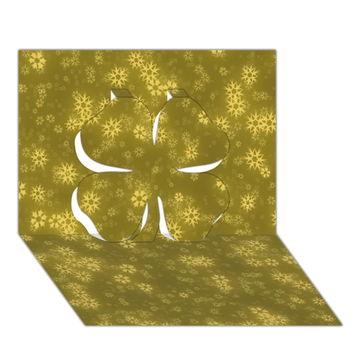 Snow Stars Golden Clover 3D Greeting Card (7x5)