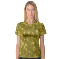 Snow Stars Golden Women s V Neck Sport Mesh Tee
