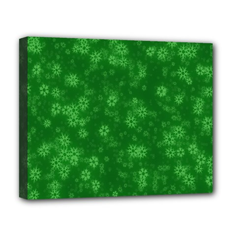Snow Stars Green Deluxe Canvas 20  x 16