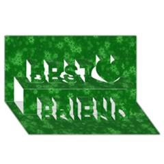 Snow Stars Green Best Friends 3D Greeting Card (8x4)
