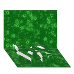 Snow Stars Green Love Bottom 3d Greeting Card (7x5)