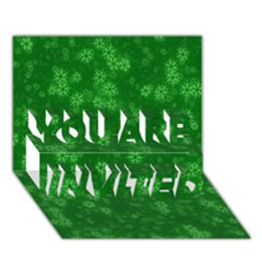 Snow Stars Green YOU ARE INVITED 3D Greeting Card (7x5)