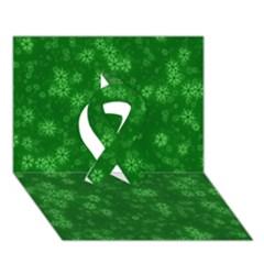 Snow Stars Green Ribbon 3D Greeting Card (7x5)