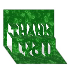 Snow Stars Green Thank You 3d Greeting Card (7x5)
