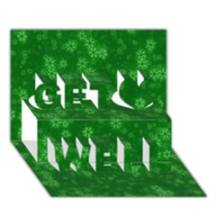 Snow Stars Green Get Well 3D Greeting Card (7x5)