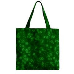 Snow Stars Green Zipper Grocery Tote Bags