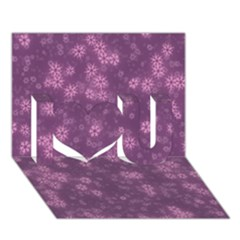 Snow Stars Lilac I Love You 3D Greeting Card (7x5)