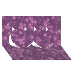 Snow Stars Lilac Twin Hearts 3D Greeting Card (8x4)