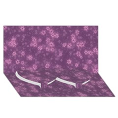 Snow Stars Lilac Twin Heart Bottom 3d Greeting Card (8x4)