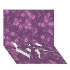 Snow Stars Lilac Love Bottom 3d Greeting Card (7x5)
