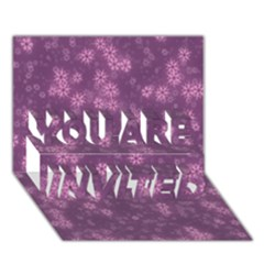 Snow Stars Lilac YOU ARE INVITED 3D Greeting Card (7x5)