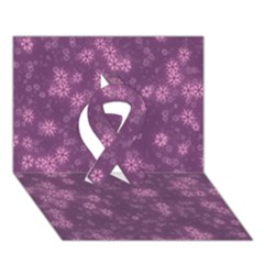 Snow Stars Lilac Ribbon 3D Greeting Card (7x5)