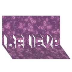 Snow Stars Lilac BELIEVE 3D Greeting Card (8x4)