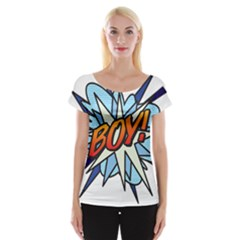 Comic Book Boy! Women s Cap Sleeve Top