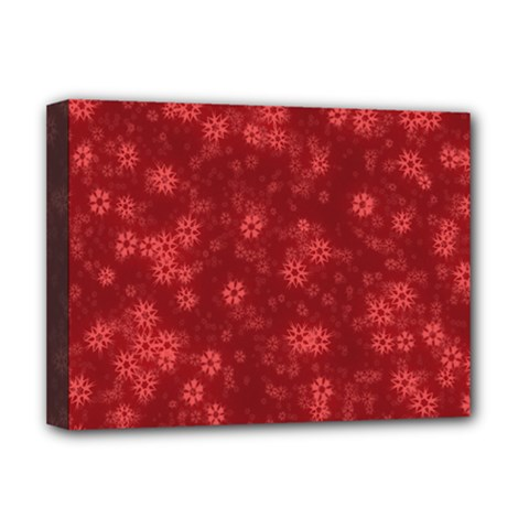 Snow Stars Red Deluxe Canvas 16  x 12