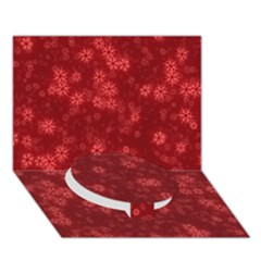 Snow Stars Red Circle Bottom 3d Greeting Card (7x5)