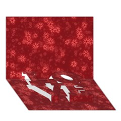 Snow Stars Red Love Bottom 3d Greeting Card (7x5)