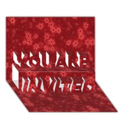 Snow Stars Red YOU ARE INVITED 3D Greeting Card (7x5)
