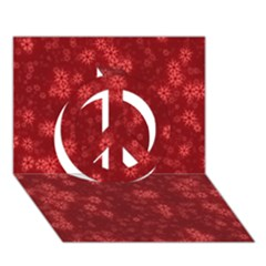 Snow Stars Red Peace Sign 3D Greeting Card (7x5)