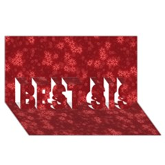 Snow Stars Red BEST SIS 3D Greeting Card (8x4)