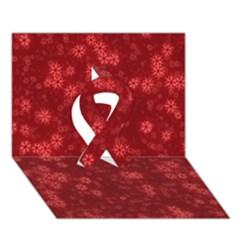 Snow Stars Red Ribbon 3d Greeting Card (7x5)