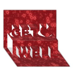 Snow Stars Red Get Well 3D Greeting Card (7x5)