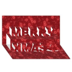 Snow Stars Red Merry Xmas 3d Greeting Card (8x4)