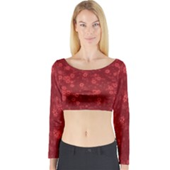 Snow Stars Red Long Sleeve Crop Top